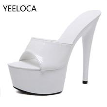 YEELOCA New Patent Leather 15cm Super High Heel Stiletto Sexy Waterproof Platform High-heeled Sandals Female Summer Slippers