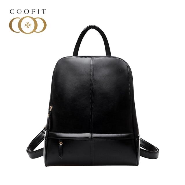 89bd7bf9b5c9 Coofit Fashion Women PU Leather Backpacks Solid Shoulder Bags Zipper Mini  Backpacks For Teenager Girls Lady Black Daypack 2017
