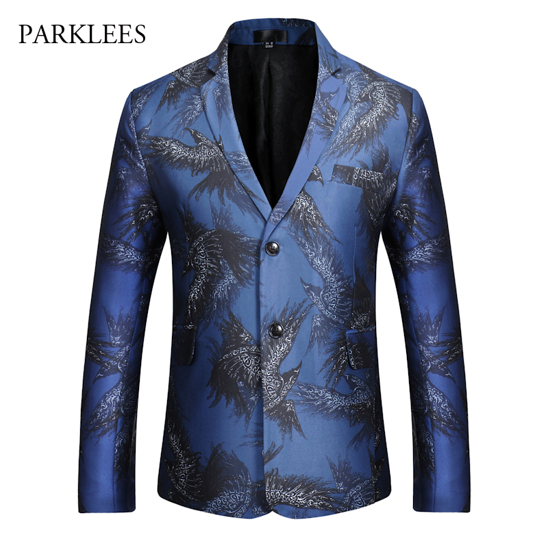 Brand Blazer Men Fashion Eagle Print Blazer Hombre 2017 Autumn Winter Single Breasted Mens Blazers Casual Slim Fit Suit Jacket single breasted slim fit blazer men chinese tunic suit jacket male suits man fashion blazers stand collar autumn plus velvet