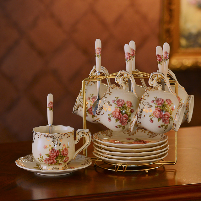 British Top Grade Tea Cup And Saucer Set European Ivory Ceramic Coffee Cups