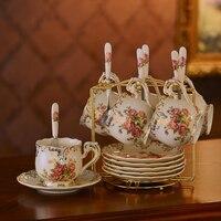 Top-grade britânico Xícara de Chá E Pires Conjunto Europeu Marfim Conjunto De Xícaras De Café Canecas de Cerâmica xícara de Porcelana Xícara de Cerâmica Avançada para Presentes