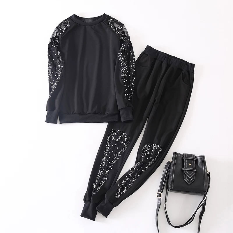2019 Autumn New Two Piece Set Women Mesh Pearl Rhinestone Set Threaded Sleeve Plus Size Stretch