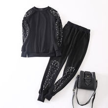 2019 Autumn New Two Piece Set Women Mesh Pearl Rhinestone Set Threaded Sleeve Plus Size Stretch 2 Pcs Set Women Tracksuit CX14(China)