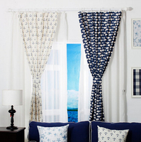 Free shipping!Finished Products blue dolphins and boat anchorage Short Cortina,The Mediterranean Sea Style Decorative Curtains!