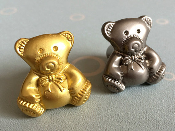 Silver Gold Bear Knobs Dresser Knobs  Drawer  Handles Kitchen Cabinet Door Knob Nickel Children Kids Furniture Knobs Hardware цена