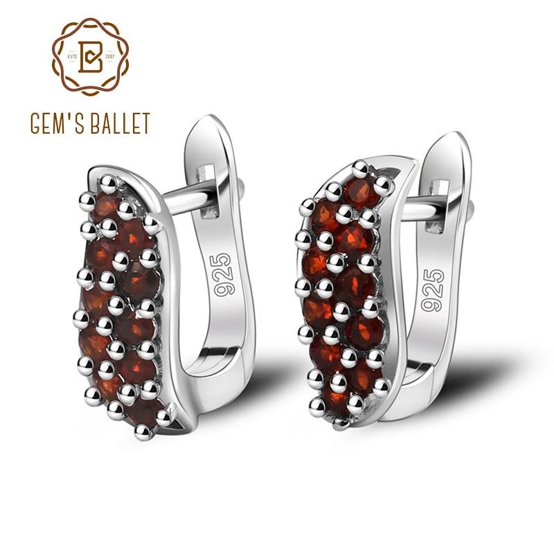 Gem's Ballet Natural Garnet 925 Sterling Silver Earrings For Women Party Dating Romantic Pomegranate Granules Earring Jackets