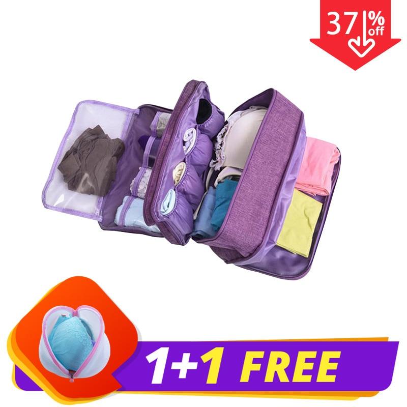 BUCHNIK Women Underwear Bags Portable Travel Compartment Wash Cosmetic Clothes Organizer Fashion Bra Storage Cases Accessories