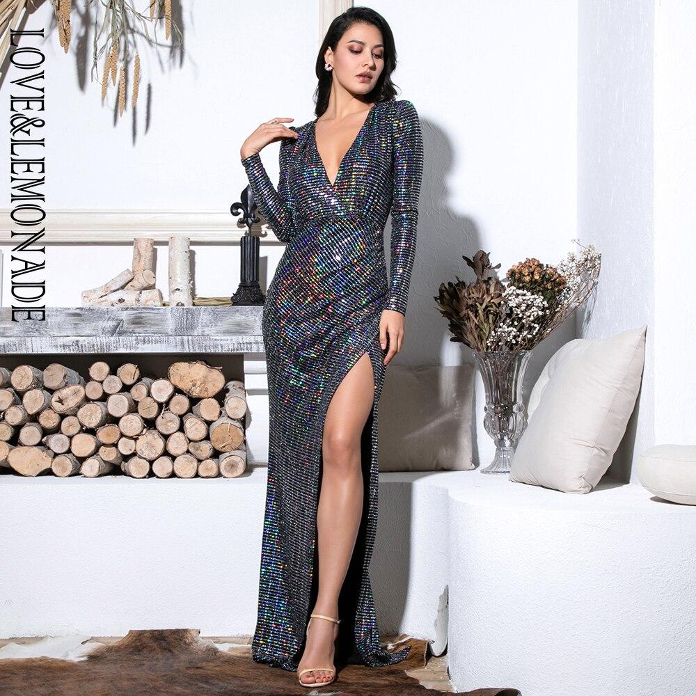 Love&Lemonade Sexy  Deep V-Neck Cut Out Puff Sleeves Glitter Sequins Elastic Material Maxi Dress LM81715 Autumn/Winter