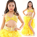 De los niños niño danza del vientre oriental indio gitano bailando la danza del vientre trajes ropa sujetador cinturón bufanda anillo falda dress suit set 05