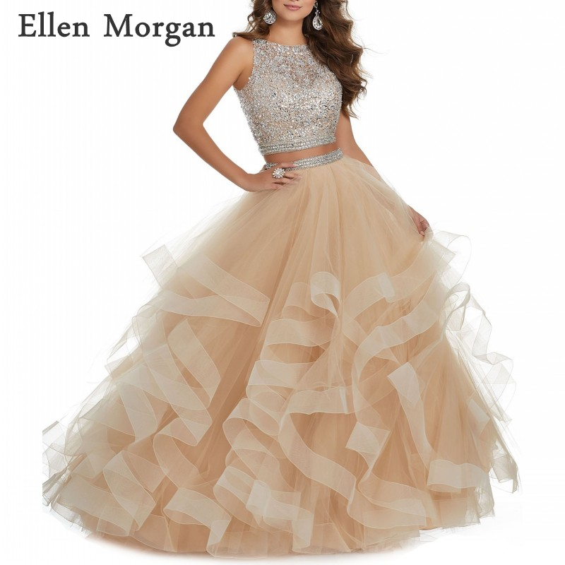 2 Pieces Champagne   Prom     Dresses   for Women Long Boat Neck Floor Length Beaded Tulle Ruffles Formal Party Gowns 2019