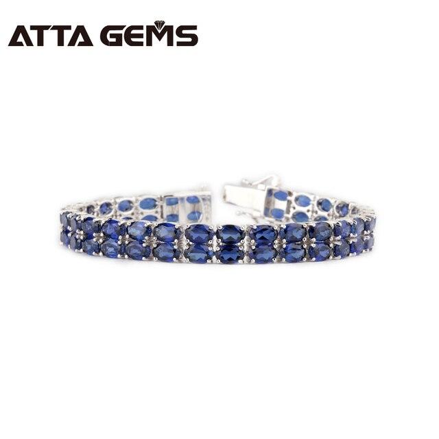 Blue Sapphire 925 Sterling Silver Bracciali 31.7 Carati Creato Blu Zaffiro 58 Pezzi 2018 Il Più Nuovo Gioielleria Raffinata