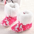2016 New Sweet Super Warm Baby Boots Booties Girl Kids Princess Prewalker Soft Bottom Anti-slip Crib Snow Bebe Shoes Footwear