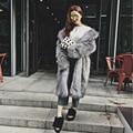 Зима Шинель Искусственного Меха Плюс Размер XXXL Длинное Пальто Для женщины Леди Отложным Воротником Теплый Насыщенный серый Роскошный Элегантный Внешний clothing