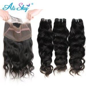 Alisky peruano onda natural do cabelo 360 laço frontal pré arrancado com 3 pacote de cabelo remy 3 pacotes com frontal