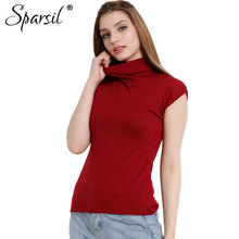 Sparsil Women Spring Cotton Blend Sweater Ruffled Collar Pullover Soft Comfortable Casual Knitted Clothes