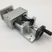 CNC Sliding Table Stroke 100MM 4 Manual Hand Wheel Linear Module Slide Linear Stage SFU1605 Ballscrew C7 Displacement Platform