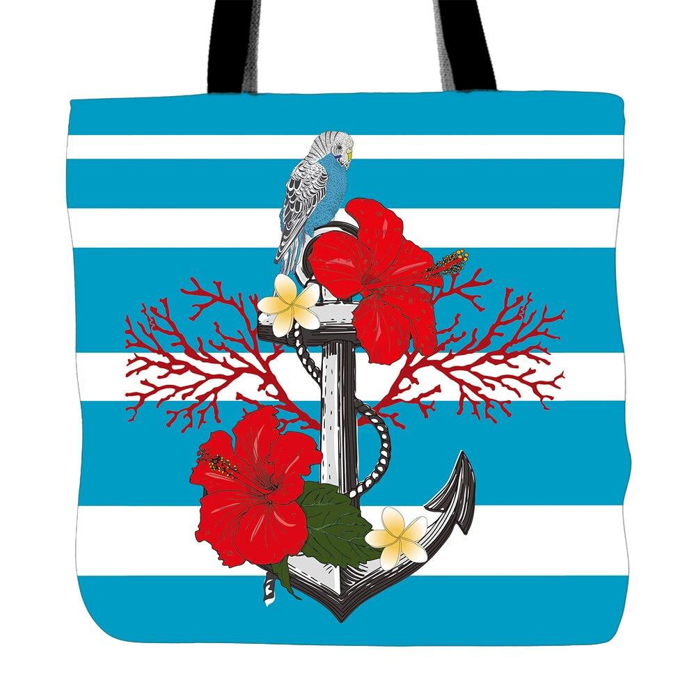 Lo Stampa Mano Per Due Parrot Tela Flower A Donne Stampato Convenienza Tote Sacchetti Delle Spalla Bag Cibo And Lati Shopping Anchor Di U01qwfU