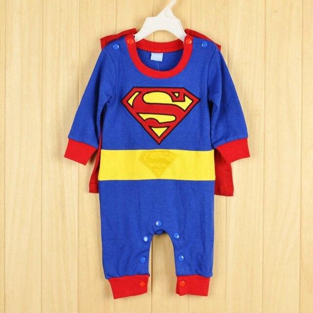 100% хлопок Супермен Комбинезоны для малышек унисекс Детские младенческой  ползунки Хеллоуин Рождественский костюм Бэтмен дизайн 8e5eada470442