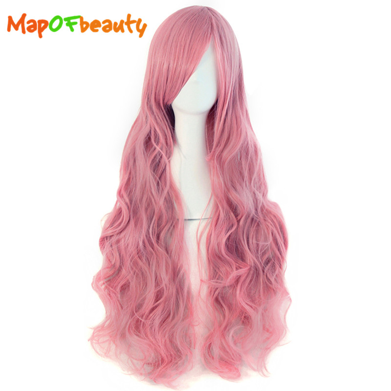 MapofBeauty 32″ Long Wavy Cosplay Wigs Fake Bangs 29 Colors Pink Black Blue Brown Blonde Women Wig Heat Resistant Synthetic Hair