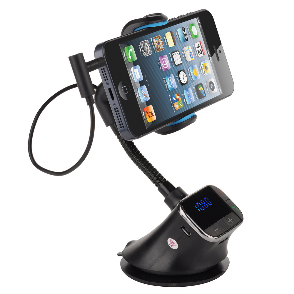 Aliexpress com buy mobilephone car mount holder usb charger fm transmitter handsfree with micro sd tf card reader slot for iphone 5s 5c 5 4s from
