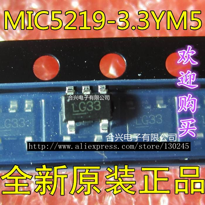 10 PCS MIC5219-3.3YM5 MIC5219 LG33 Output LDO Regulator