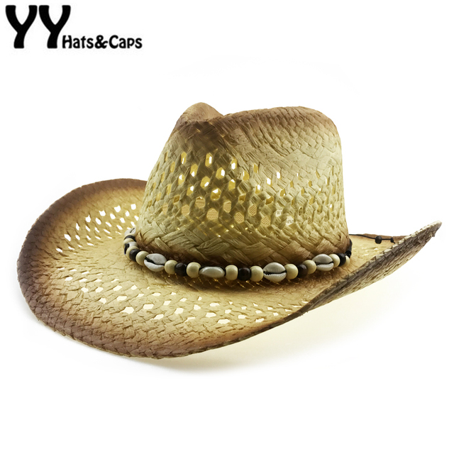 0e7071ce6d0 Shell Straw Hat Men Summer Western Cowboy Hat With Wide Brim Women Hollow  Straw Beach Cap Heren Hoeden New Jazz Hat YY18100