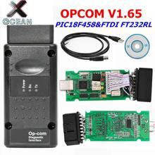Alta qualidade opcom v1.65 para opel para pic18f458 & ftdi ft232rl chip hw opcom can-bus interface op com suporte só inglês