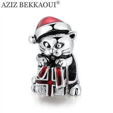 AZIZ BEKKAOUI Fortune Cat Beads fit DIY Bracelet Diy Animal LUCKY CAT Beads for Jewelry Making Christmas Red Charms for Girl(China)