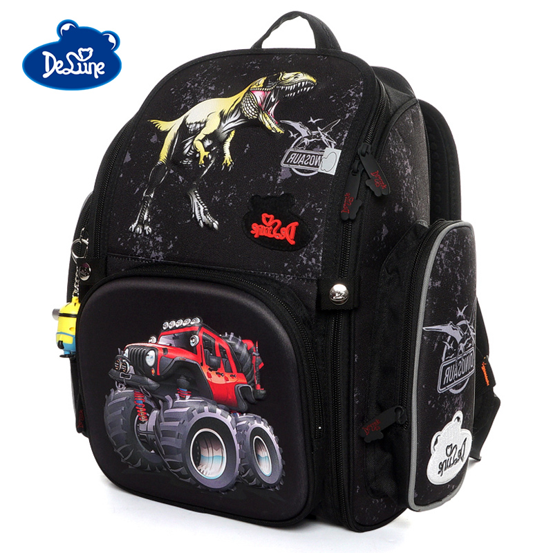 Delune 2019 3D SUV Pattern School Bags For Girls Boy Cartoon Owl Backpack Children Orthopedic Backpacks Primary Mochila Infantil