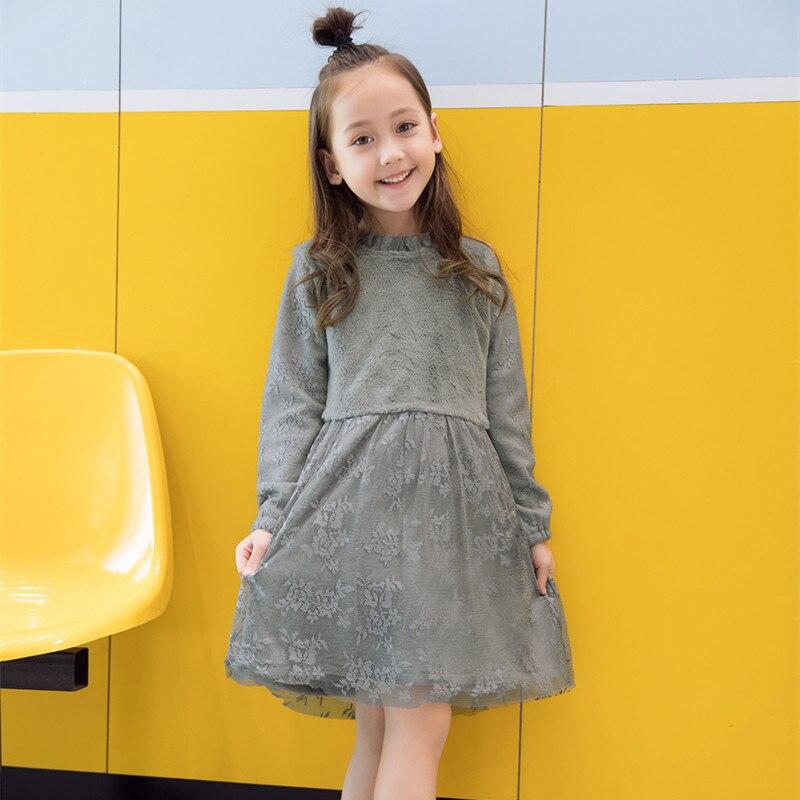 f8a34167f DFXD ropa de niño moda invierno niños niñas princesa Vestido de manga larga  Soild gris conejo ...