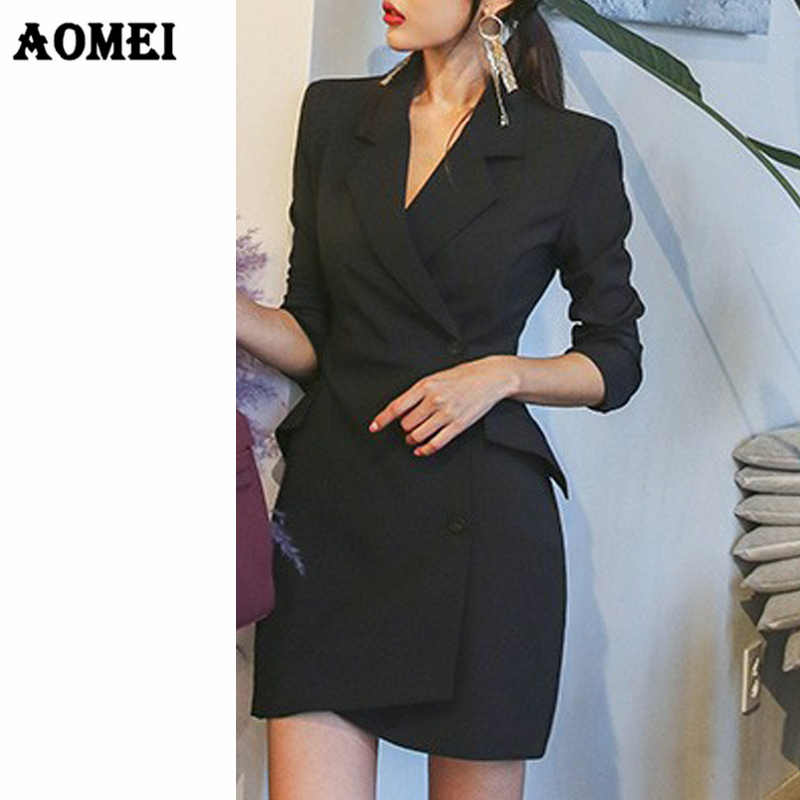 cb1c6e690f ... Female Blazer Mini Dress Work Wear Classy Women Jackets Slim Sexy Tight  Slim Korean Style Vestido ...