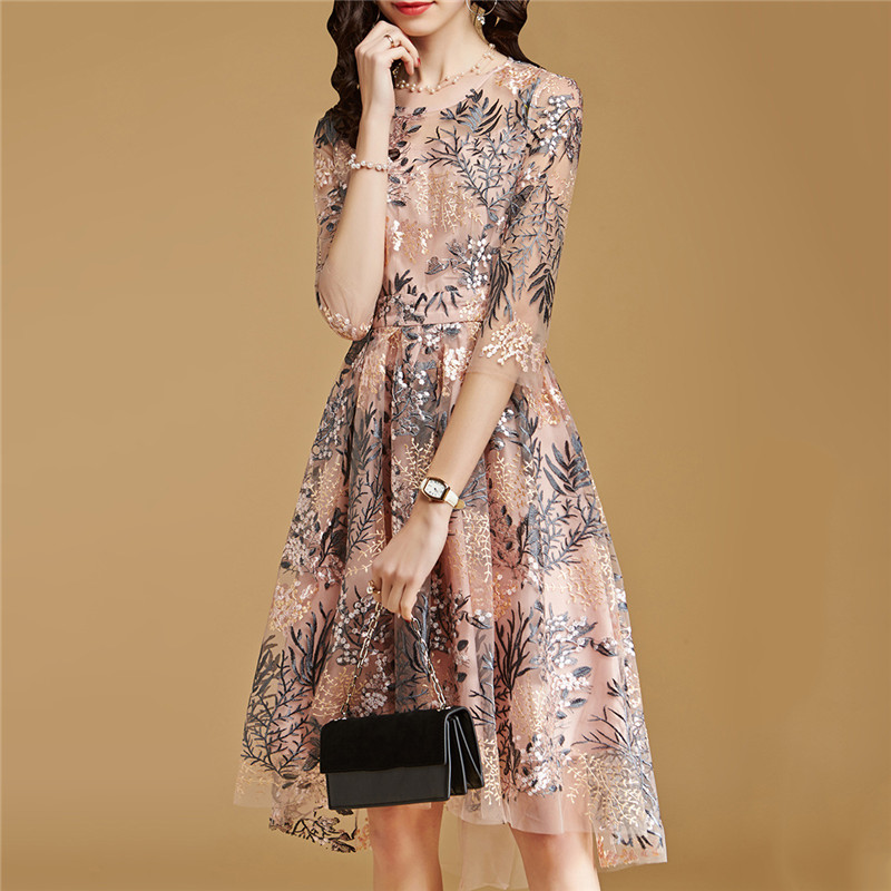 Lace Dress Pink S 2XL 2019 New Spring Korean High Waist Slim A Line Dress Embroidery Mesh Half Sleeve Party Dress Vestidos CX816 in Dresses from Women 39 s Clothing