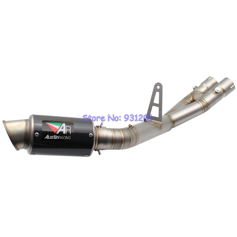 For Yamaha R1 YZF R1 Exhaust System Motorcycle Slip On Link Pipe Mid Pipe with AR Austin Racing Exhaust Muffler Pipe DB KillerFor Yamaha R1 YZF R1 Exhaust System Motorcycle Slip On Link Pipe Mid Pipe with AR Austin Racing Exhaust Muffler Pipe DB Killer