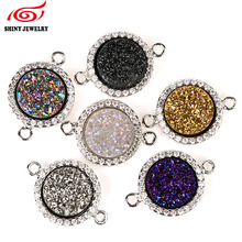Fashion DIY Accessories Multicolor Natural Druzy Geode Pendant Connector for Choker Necklace Bracelet Making Titanium Druzy Bead(China)