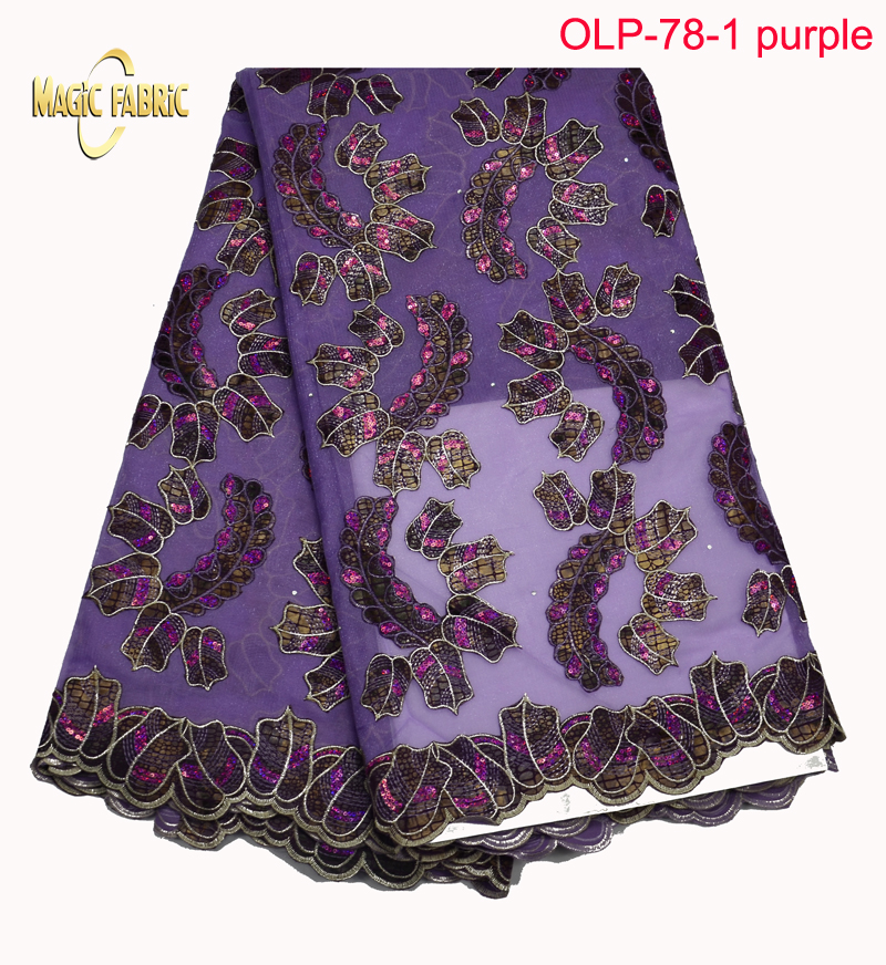 Guangzhou Magicfabric importexport Co., Ltd Organza lace fabric high quality embroidered with sequins hot sale 2017 new design African organza lace for sewing   OLP-78