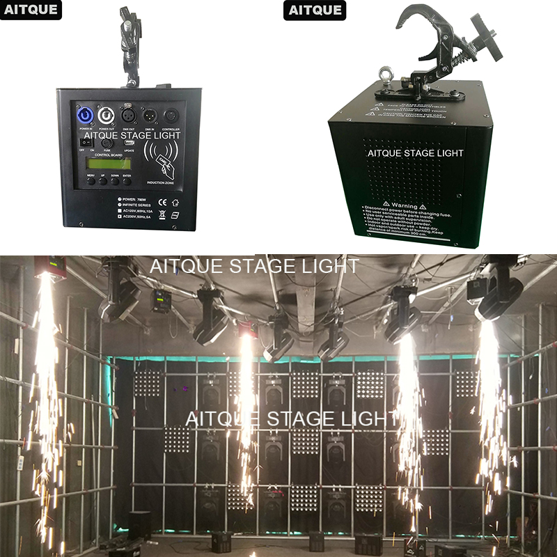 2lot Stage Upside Down Cold Fireworks Machine Fall hang up Cold Fireworks Machine dhl shipping battery working cold fireworks machine console dmx wireless 2 4g usb led lamp speed fireworks spary shape button