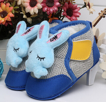 Rabbit Doll Baby Shoes Stitching Warm Girls Shoes Plus Velvet Chaussure Fille Sewing Hook&Loop Comfortable Baby Boots