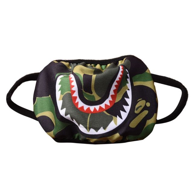 Women Men Unisex Hip Hop Trendy Half Face Mouth Mask Shark Colorful Camouflage Earloop Elastic Anti-Dust Kpop Muffle Protective 1