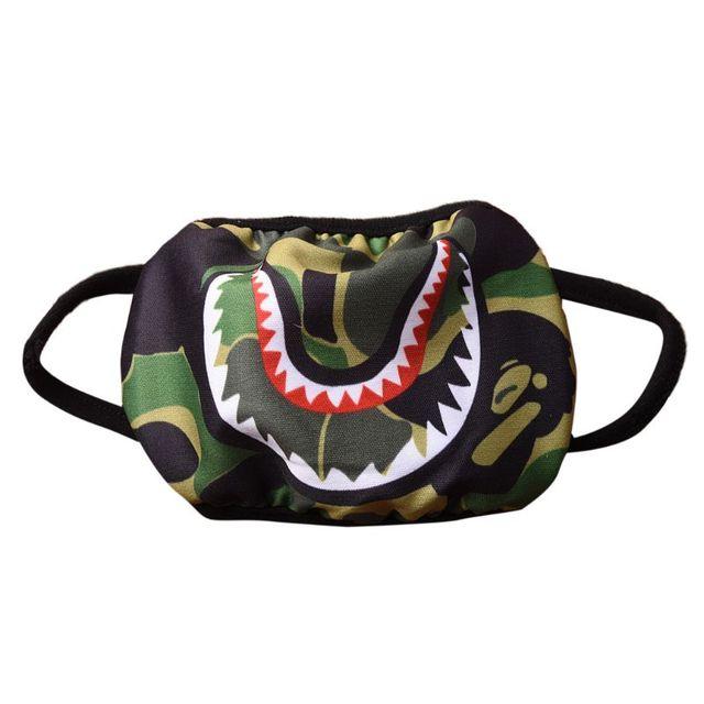 Women Men Unisex Hip Hop Trendy Half Face Mouth Mask Shark Colorful Camouflage Earloop Elastic Anti-Dust Kpop Muffle Protective 1