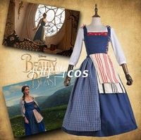 Adult Princess Belle Blue Dress Costume Halloween Southern Beauty And The Beast Belle Maid Fancy Dress