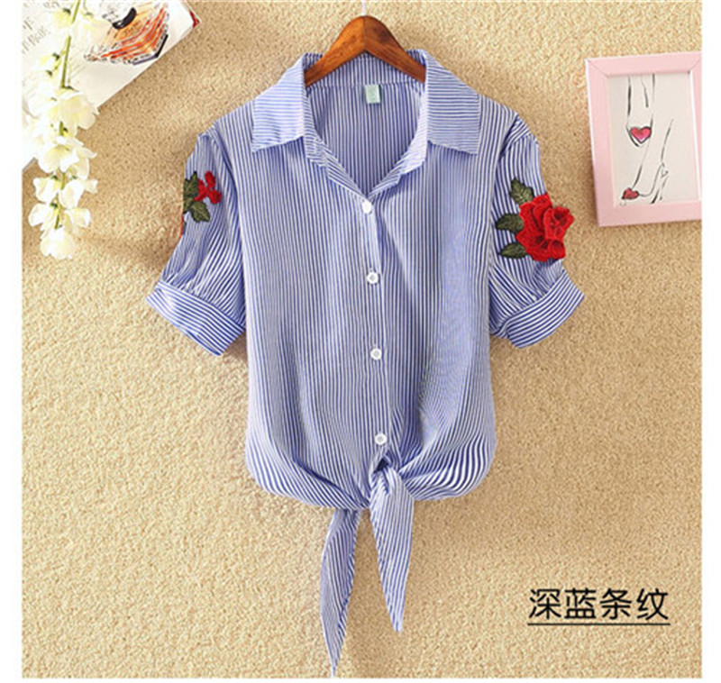 HTB1c4ObSXXXXXc3XFXXq6xXFXXXi - Women Shirts Korean Short Sleeve Flower Embroidery Clothes