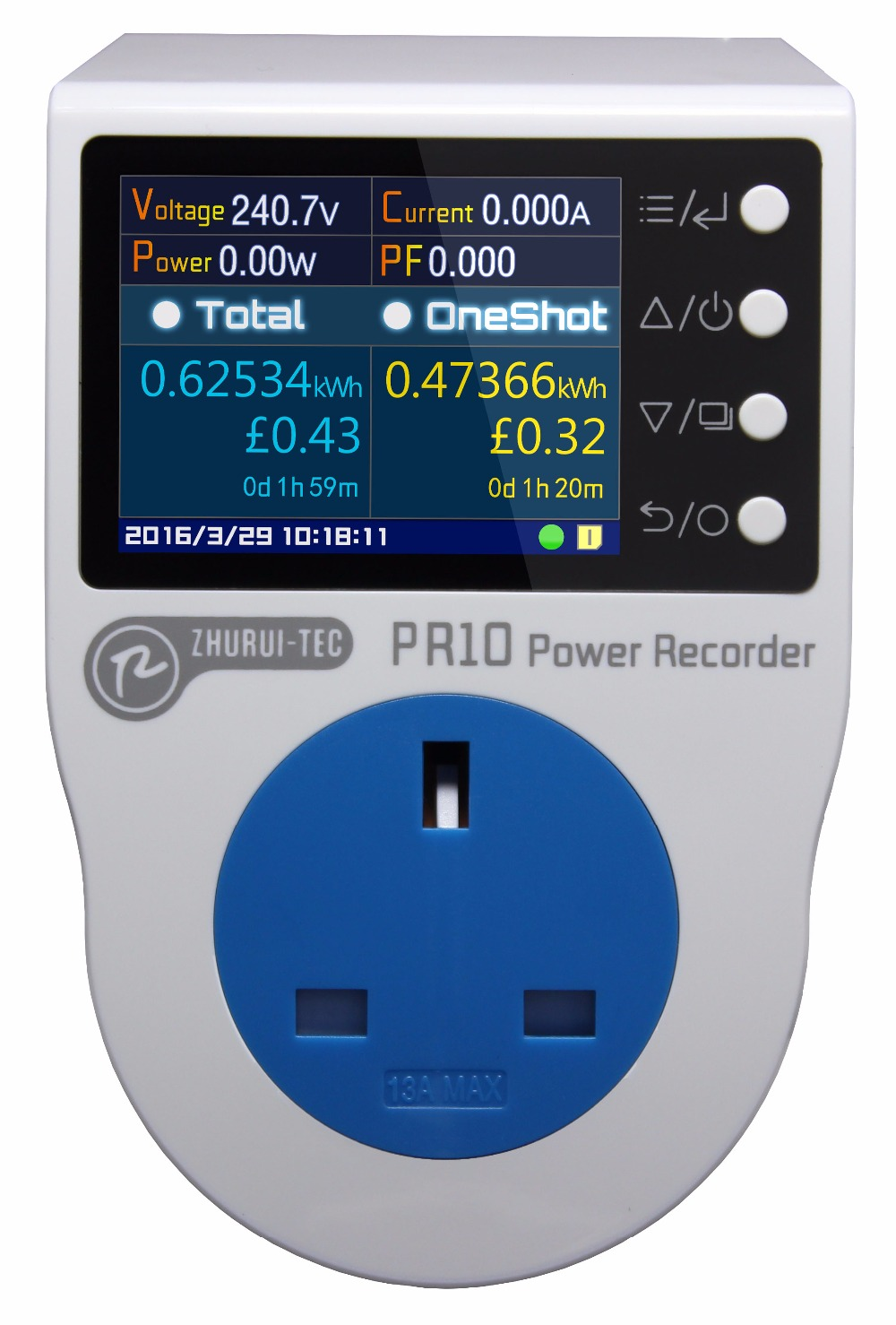 PR10 F UK 13A power metering socekt kwh meter 0 1 3250w watt meter power recorder