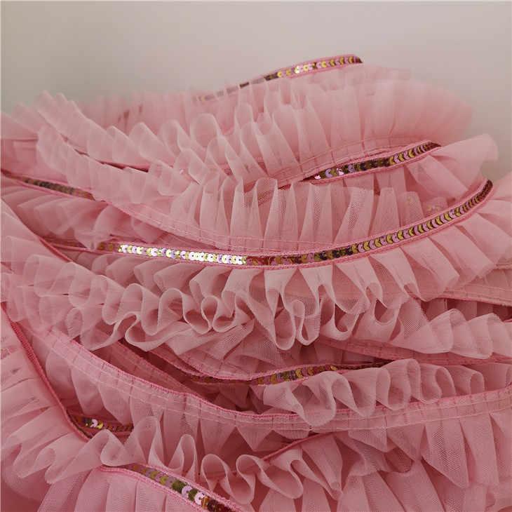 5 cm de ancho de buena calidad Rosa bordado lentejuelas malla encaje tela textil hogar muñeca de dibujos animados Ropa Decoración DIY falda puño de coser