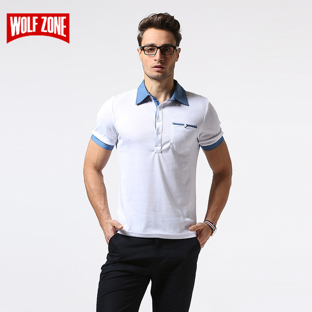 6c829b14431a WOLF ZONE Brand Polo Shirt Men Summer Breathable Business Casual Mens Short  Sleeve Fashion Solid Cotton Polo Shirts Clothing