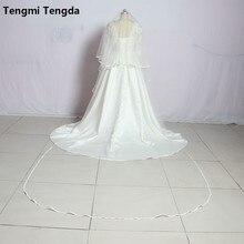 Высококачественная двухслойная свадебная вуаль длиной 3 метра с гребень для свадьбы вуаль с лентой по краям Свадебные аксессуары Veu De Noiva
