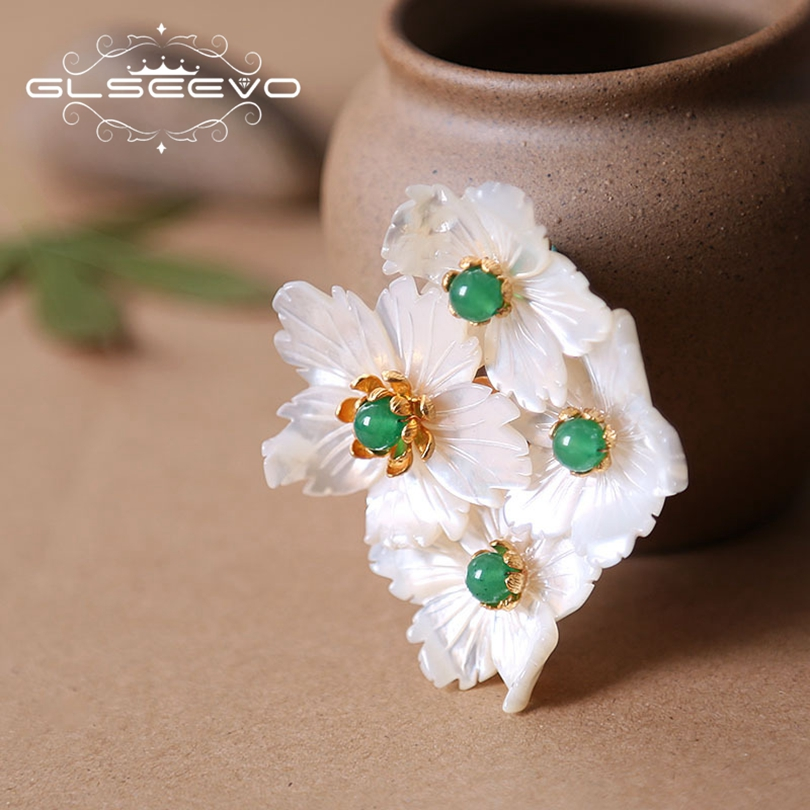 GLSEEVO Natural Mother Of Pearl Flower Brooch Pin Chrysoprase Brooches For Women Accessories Dual Use Luxury Fine Jewelry GO0177 paper art удивительные кошки a4 80л творческий диз блок