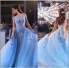 Elegante Saudi-arabien Blau Abendkleider Spitze Nixe-abschlussball backless bodenlangen abendkleid