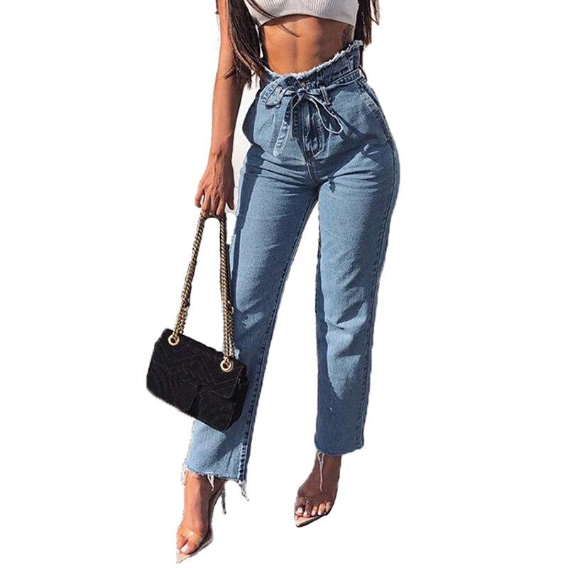 Women Fashion High Waist Slim Jeans Ladies