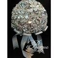 Lujos 2015 Plateado Crystal Wedding Bouquet Moda Bling Bling Nupcial de la Novia Ramos Accesorios de La Boda Bouquest De Mariage
