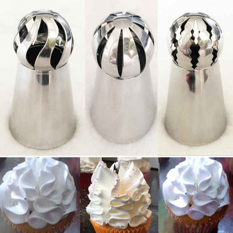 3 Pcs/lot Stainless Steel Rusia Bola Torch Nozel Bunga Fondant Icing Piping Tips Krim Kue Cupcake Dekorasi Alat